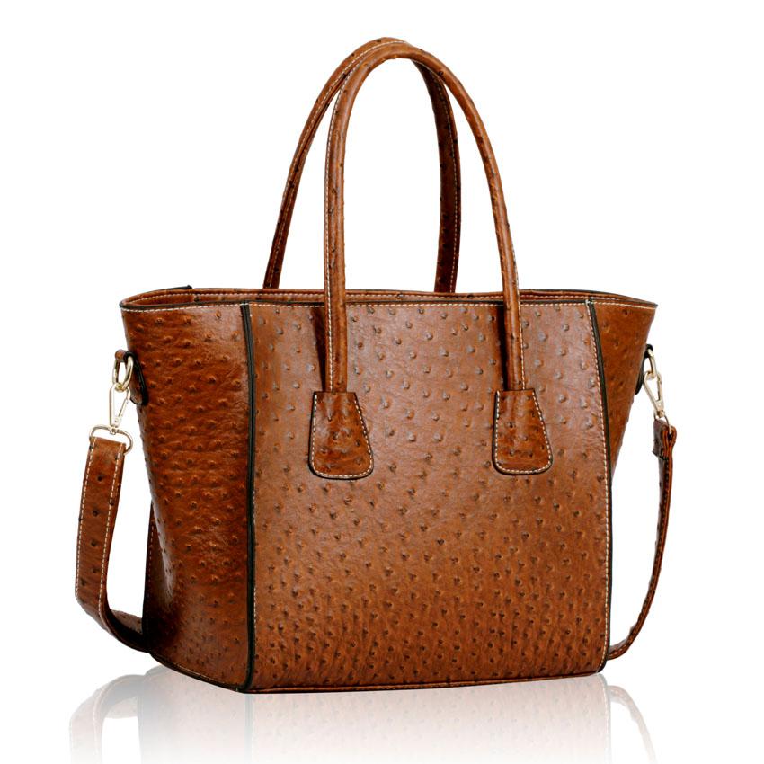 ce07cb9c45e3 Velká dámská hnědá kabelka pštrosího vzoru SHOPPER BAG Fashion LS00234