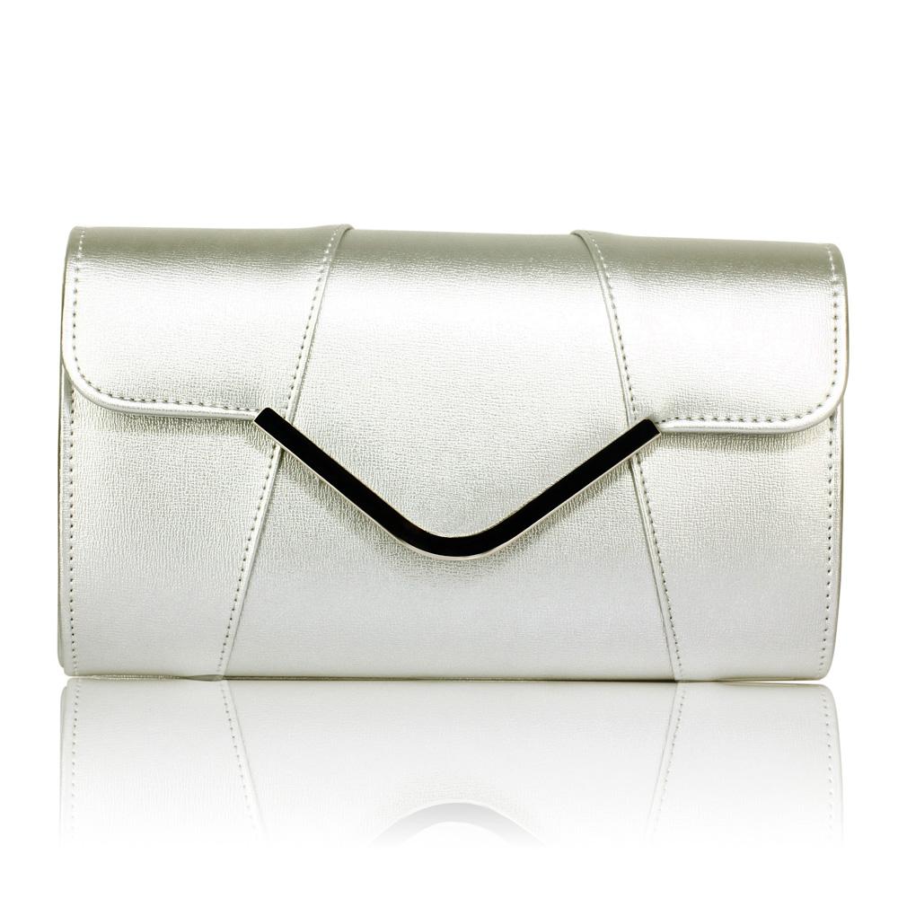 80aff6a351 LS Fashion Stříbrná kabelka psaníčko se stříbrným lemem LSE00329A