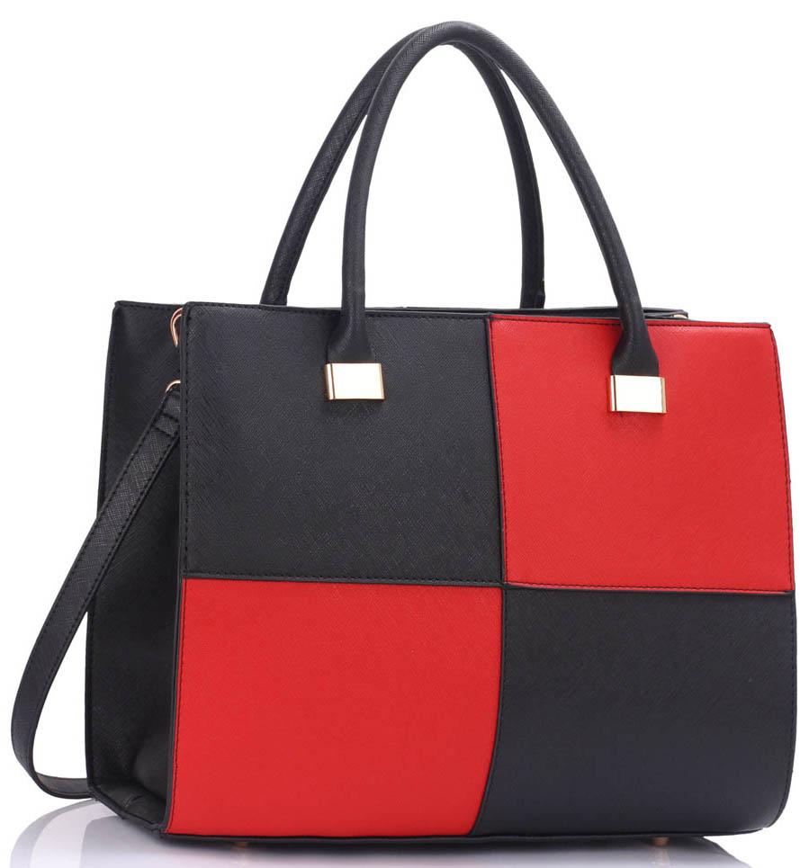 71b90d2875c2 Elegantní černo červená kabelka LS Fashion LS00153XL
