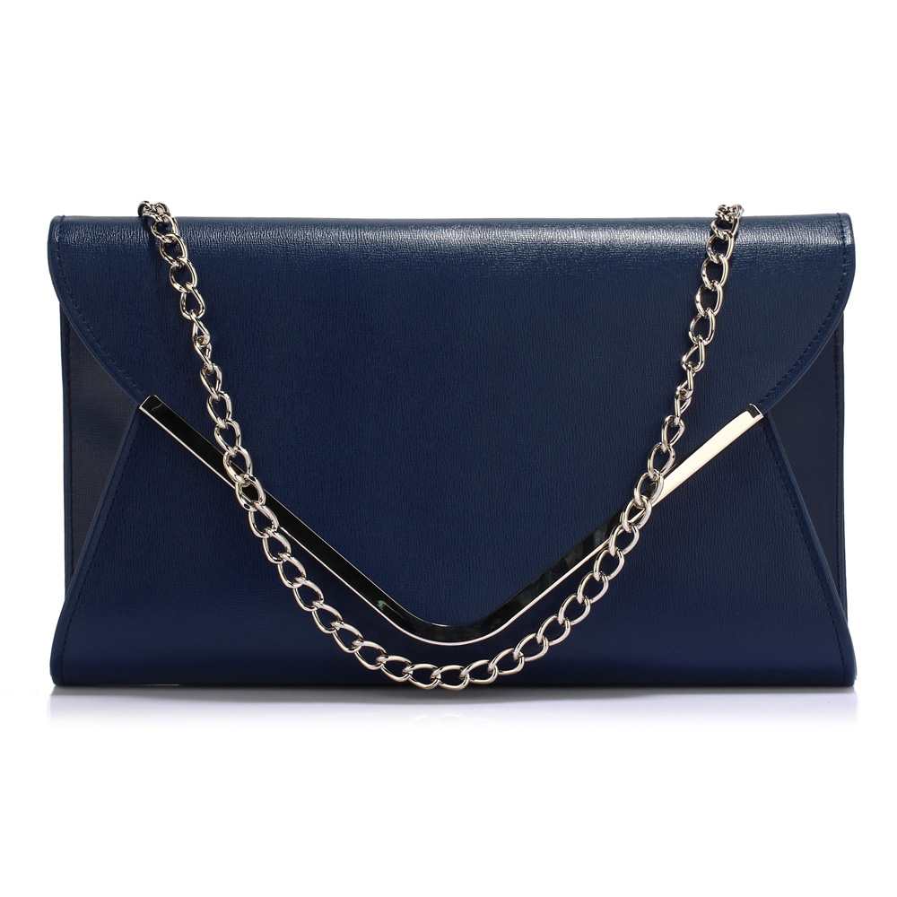 LS Fashion Elegantní společenská kabelka psaníčko LSE00166C tmavě modré 05771611d8