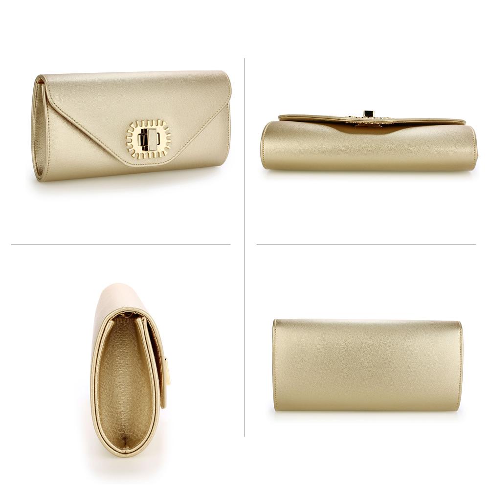 0d650e4e46 Zlatá kabelka psaníčko s ozdobnou aplikací Anna Grace AGC00355