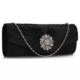 283614d4d2 LS Fashion Společenská kabelka psaníčko s květinovou broží LSE00104 černé  empty
